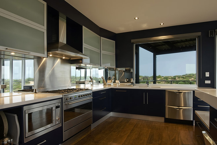 Modern Luxury Kitchen with view of a field