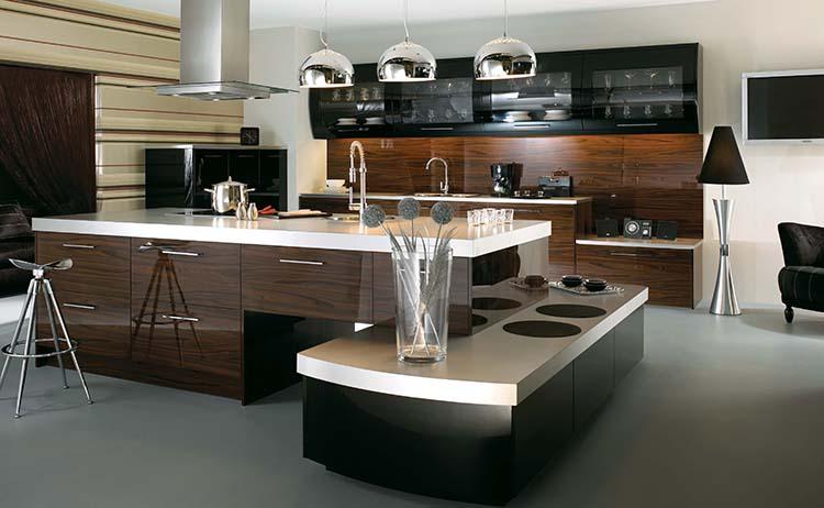 Modern Luxury Kitchen with big ornamental shelf