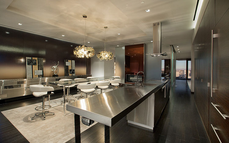 Modern Luxury Kitchen with in-built appliances and stainless top counter
