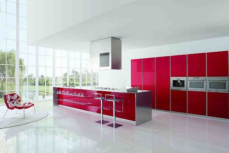 Red and White Modern Luxury Kitchen design
