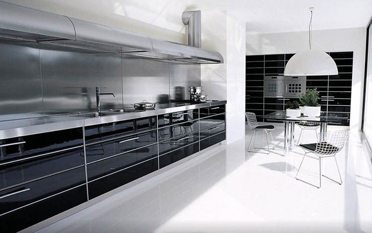 Modern Luxury Kitchen black and stainless steel