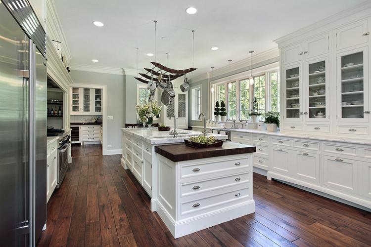 White Luxury Kitchen with hardwood