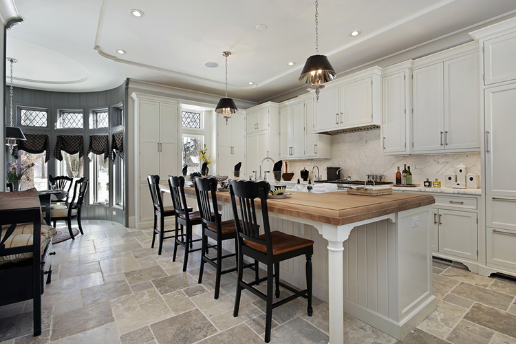 White Luxury Kitchen with tile floor