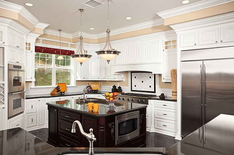 White Luxury Kitchen with stainless appliances