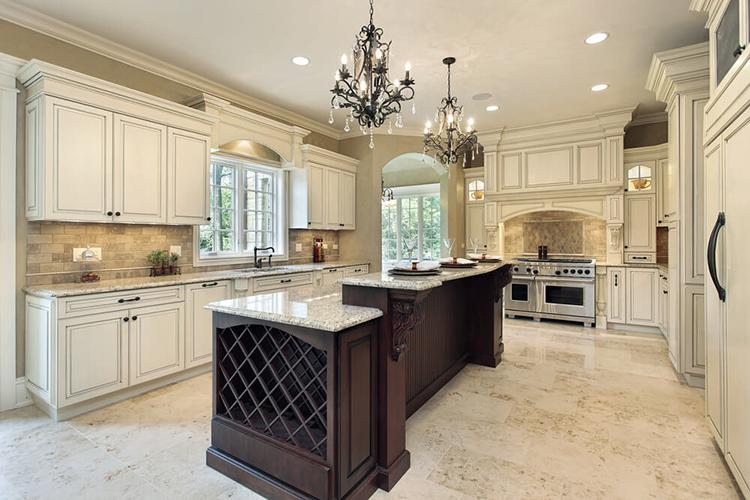White Luxury Kitchen - granite island