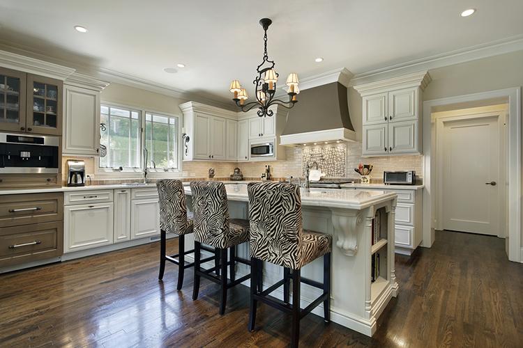 White Luxury Kitchen - zebra stools