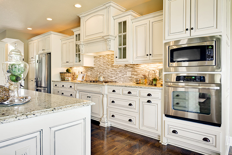 White Luxury Kitchen with wild backsplash