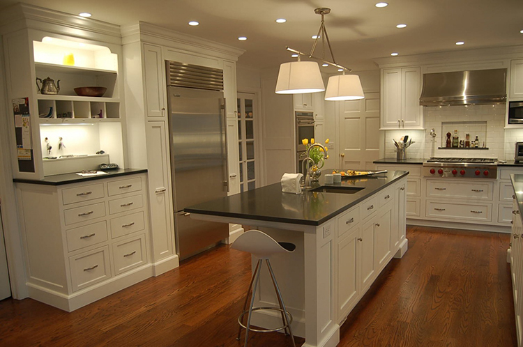 White Luxury Kitchen with cherry hardwood floor
