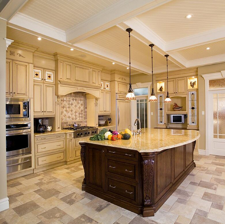 White Luxury Kitchen with pendant lighting