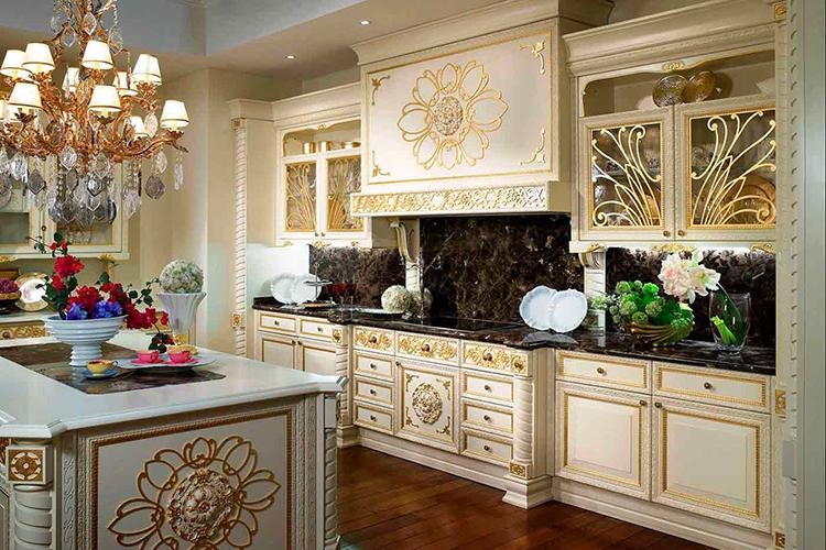 White Luxury Kitchen with gold decor