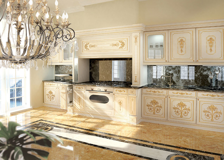 White Luxury Kitchen with golden decorations