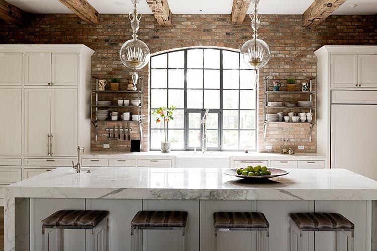 White Luxury Kitchen with globe lights