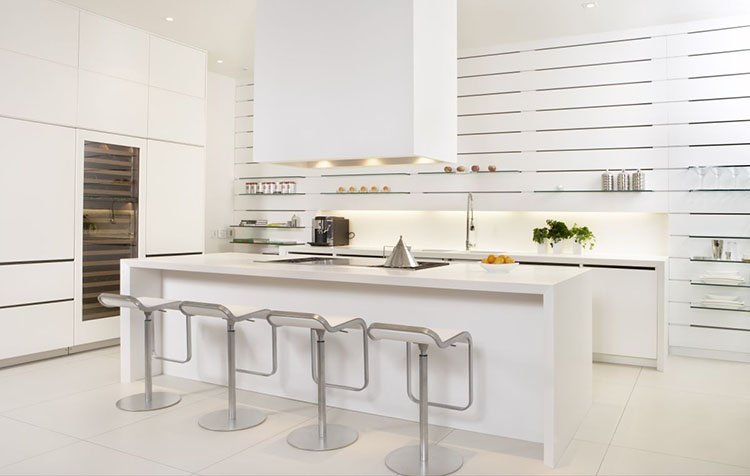 White Luxury Kitchen with dining bar