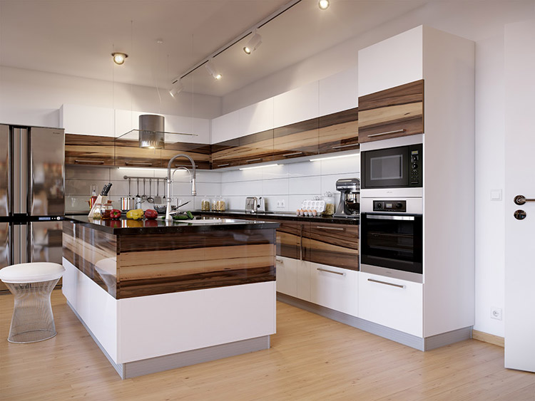 White Luxury Kitchen with hardwood decor
