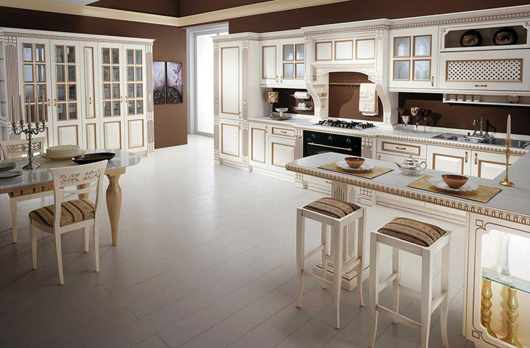 White Luxury Kitchen with brown walls