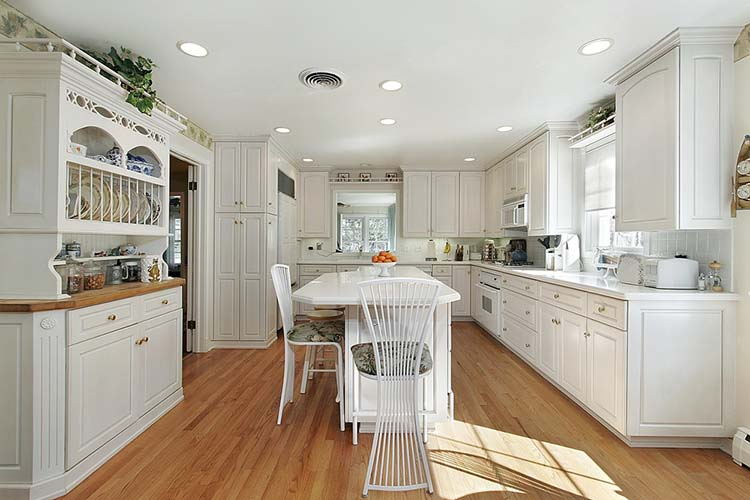 Luxury Kitchen with white hutch