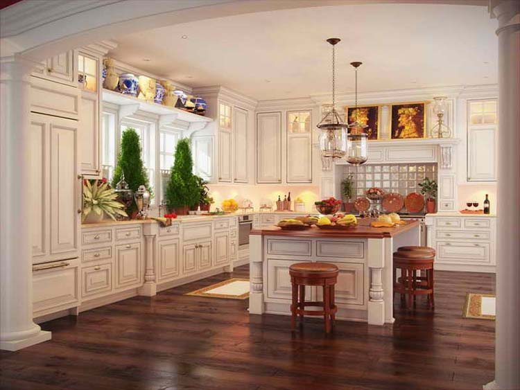 Luxury Kitchen with cherry floor