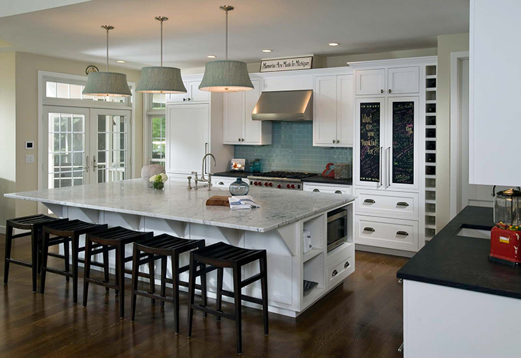 Luxury Kitchen with green lamp shades
