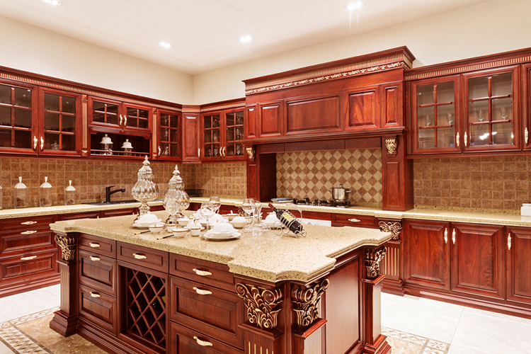 Cherry Wood Luxury Kitchen with false mantel finely inlaid