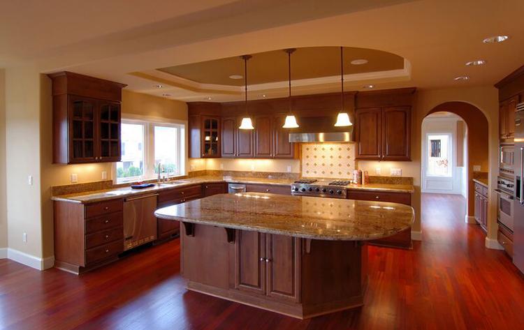 Luxury Kitchen with walnut panels