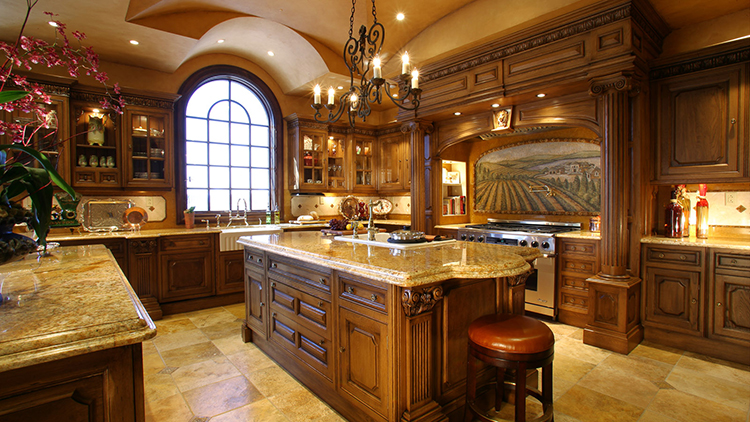 Luxury Kitchen with renaissance styled painting