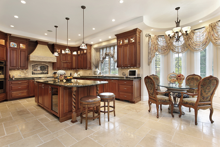 Luxury Kitchen with luxurious, comfortable chairs