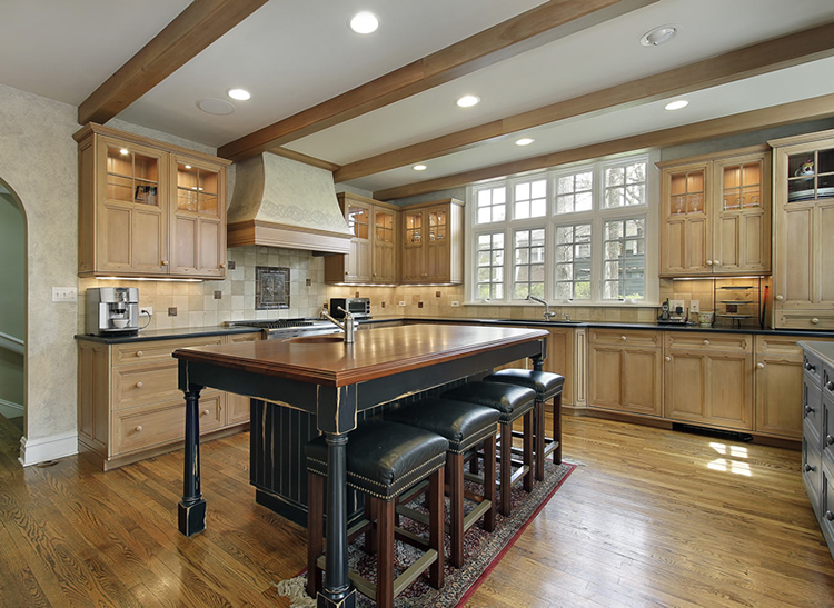 Luxury Kitchen with wood ceiling beams