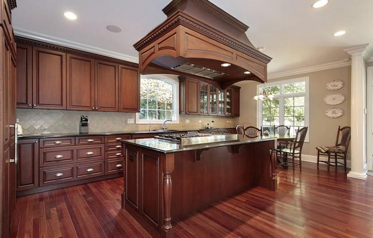 Luxury Kitchen with richly inlaid and decorated wood