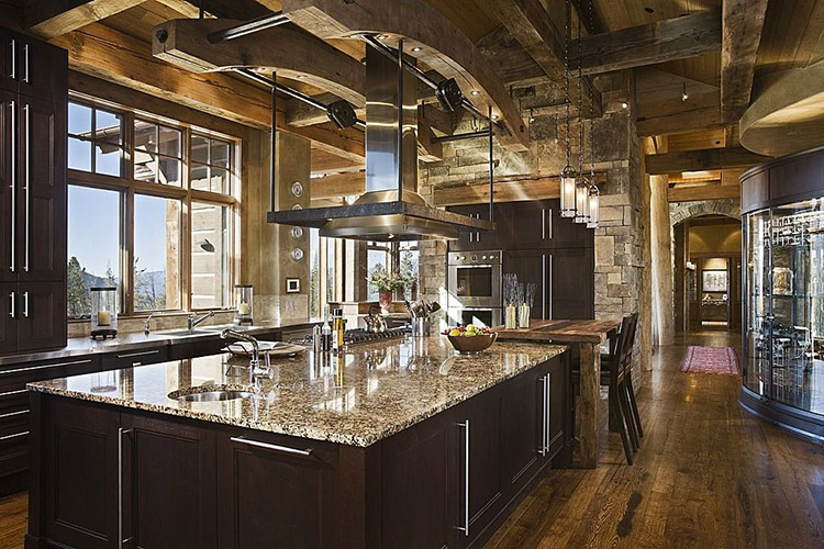 Innovative Luxury Kitchen with planks wood ceiling