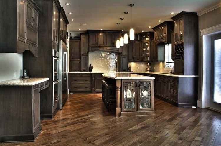 Impressive Luxury Kitchen with dark hardwood