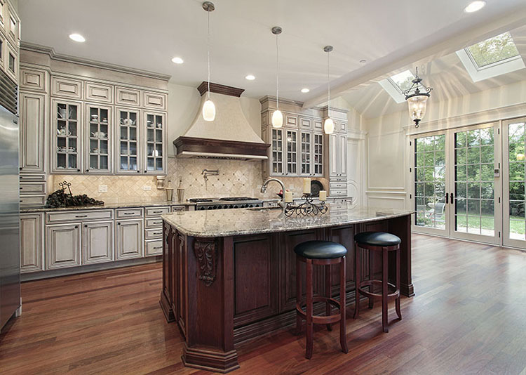 Kitchen with sunlights and pendent lighting