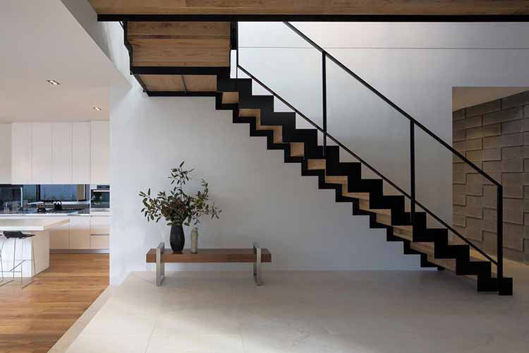 Lifetime Luxury Amazing Stair Design - classical straight staircase with iron handrail, glass panel balustrade, dark iron skirt board, wooden stairs -024