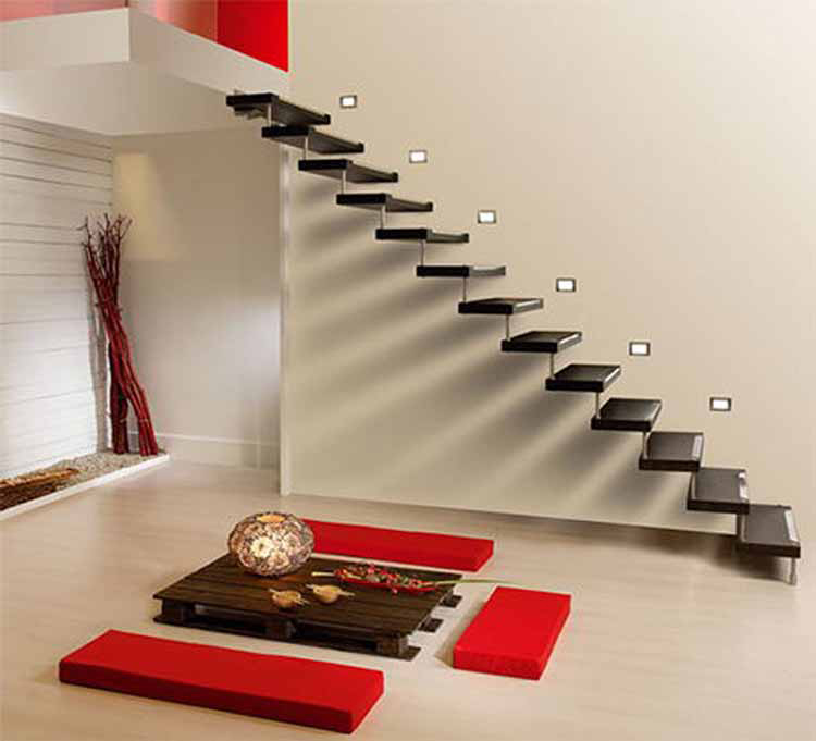 Lifetime Luxury Amazing Stair Design - straight staircase going left with no balustrade and no handrail and stairs in dark plastic -028