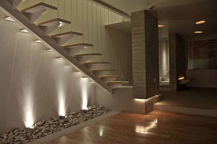 Lifetime Luxury Amazing Stair Design - white straight staircase running left without handrail and balustrade sustained by a single beam -037