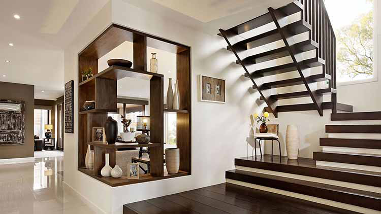 Lifetime Luxury Amazing Stair Design - classical wooden staircase with wooden handrail, skirt board and stairs, and wooden intermediate landing - 059