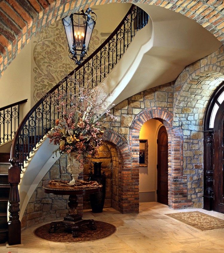Lifetime Luxury Amazing Stair Design- curved staircase turning right with double white skirt board, dark wallnut wooden stairs, dark wallnut wooden handrails, dark iron decorated balusters - 180