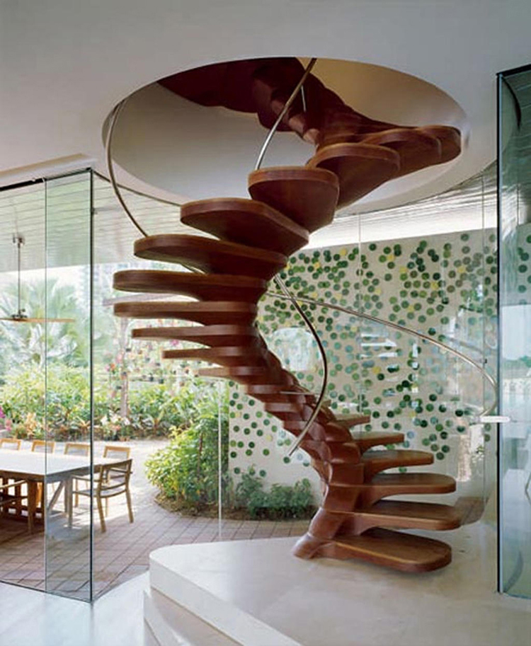 Lifetime Luxury Amazing Stair Design- circular wooden staircase going left with thin tubolar handrail, no baluster, no skirt board or intermediate landings -222