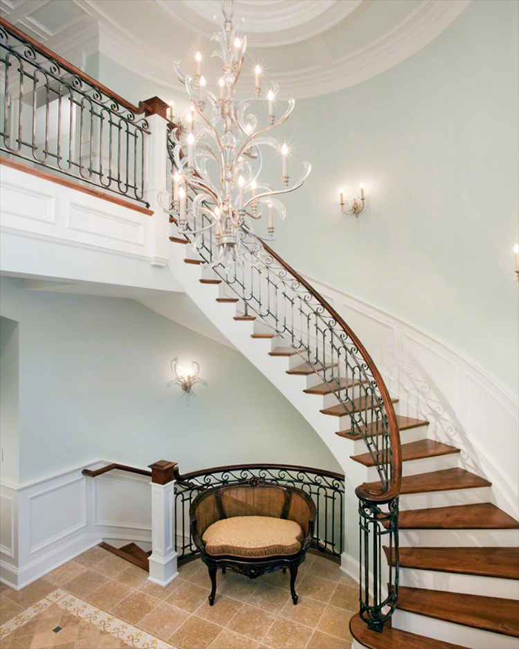 Lifetime Luxury Amazing Stair Design - curve staircase turning left with white skirt board, steel decorated balustrade, wlanut handrails and stairs - 300