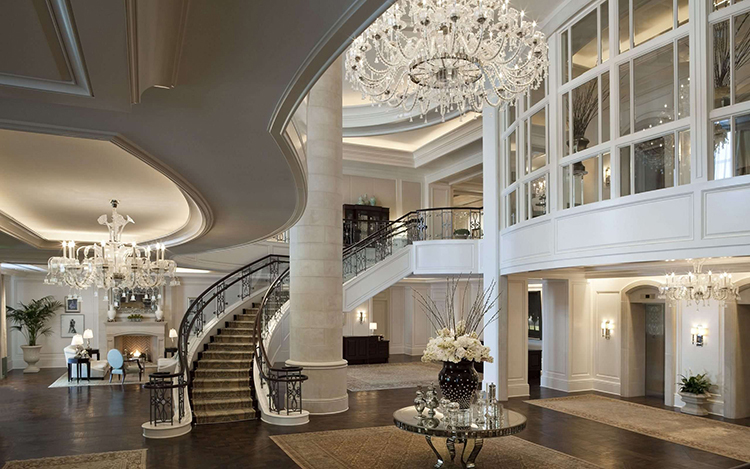 Lifetime Luxury Amazing Stair Design - curve staircase turning right with finely decorated iron railings -374