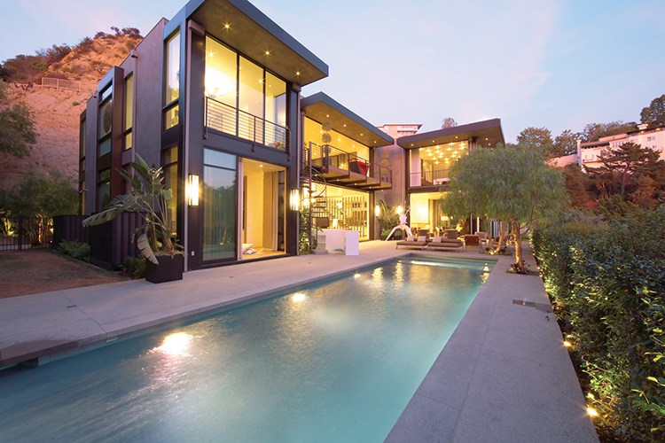 Lifetime Luxury - three block house around a long rectangular swimming pool - Unique Architecture Design015