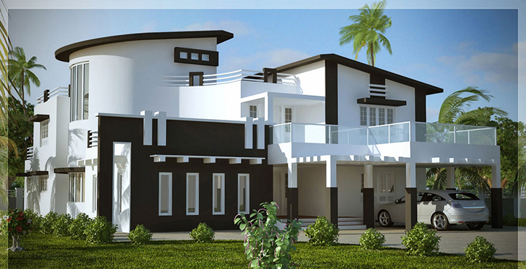 Lifetime Luxury - white two storey mansion with terraces, a semicircular small tower and a porch - Unique Architecture Design027