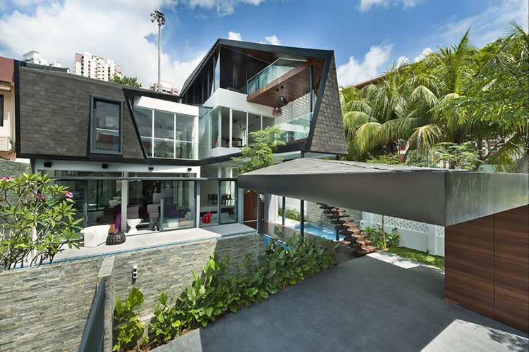 Lifetime Luxury - modern architecture example of two storey building with huge window panels, stairs, small balconies, patios - Unique Architecture Design045