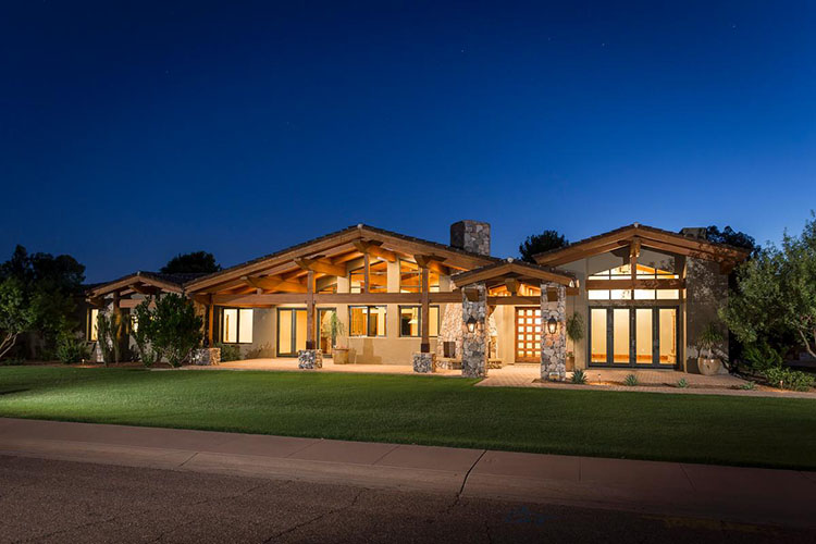 Lifetime Luxury - on storey two volume cottage with large meadow in front, porch with wooden columns - Unique Architecture Design076