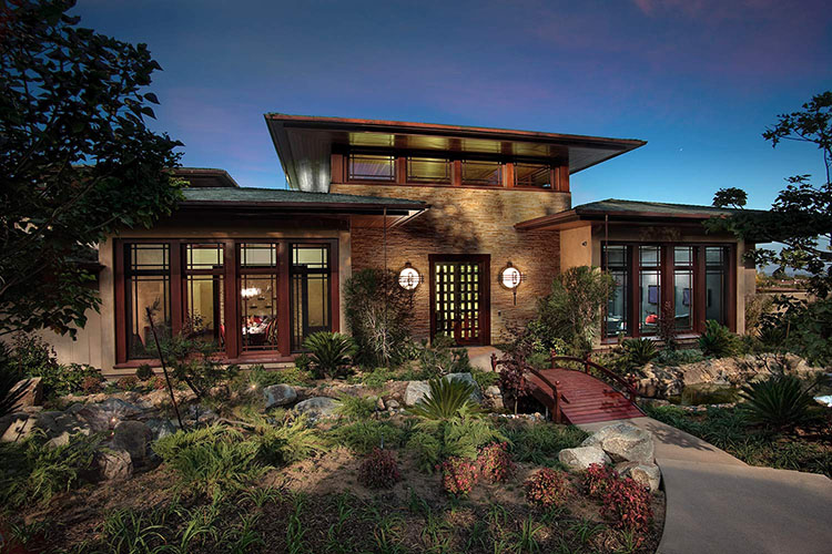 Lifetime Luxury - Japanese style one storey villa with stone walls, oriental garden, small rivers, small chinese style wooden brige in front - Unique Architecture Design129