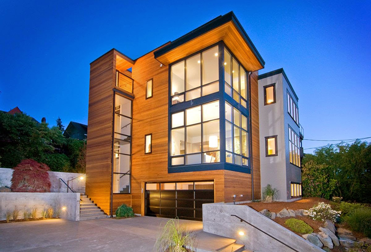 Lifetime Luxury - three storey building with wooden facade and two big angular panel windows - Unique Architecture Design208