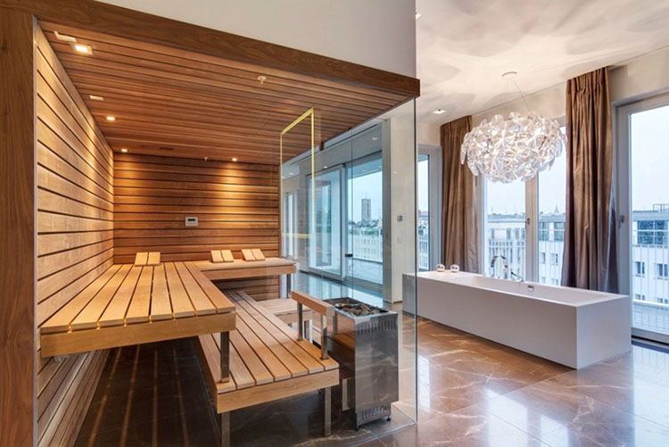 Luxury Home Sauna - glass panel sauna cabinet with stunning view on the town - LifetimeLuxury003