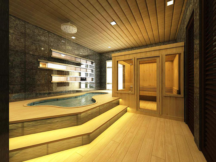 Luxury Home Sauna - posh bathroom with pool shaped jacuzzi and sauna wooden cabinet on the right - LifetimeLuxury009
