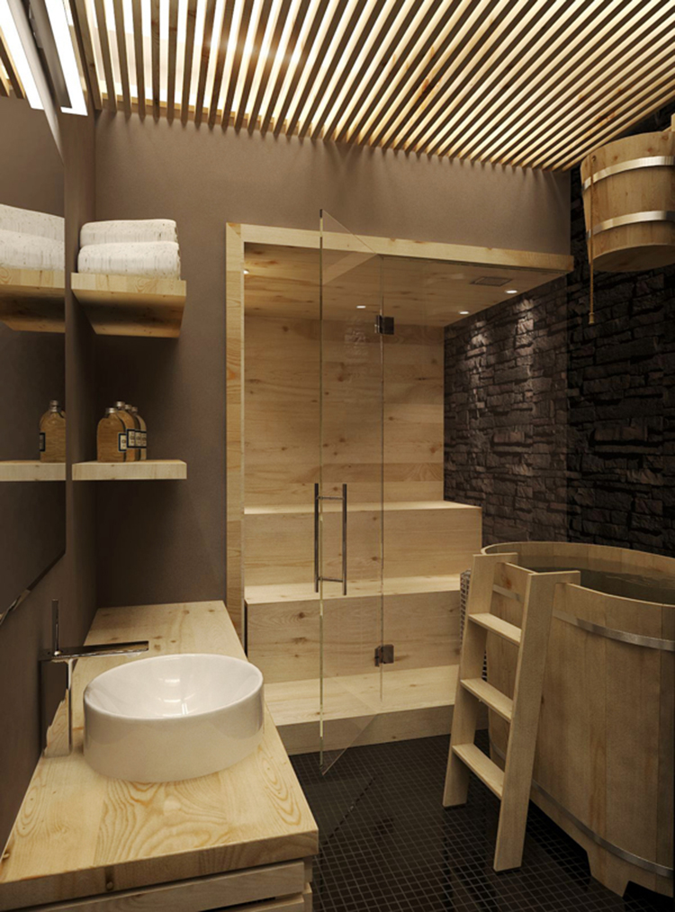 Luxury Home Sauna - small wooden sauna cabinet with glass panel door in a bathroom with some Japanese style elements - LifetimeLuxury016