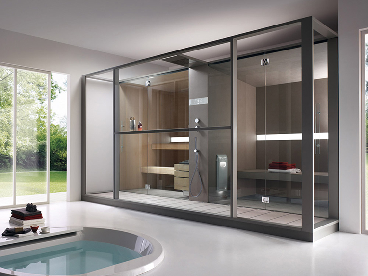 Luxury Home Sauna - contemporary sauna cabinet design made out of metal frames and glass panels - LifetimeLuxury024