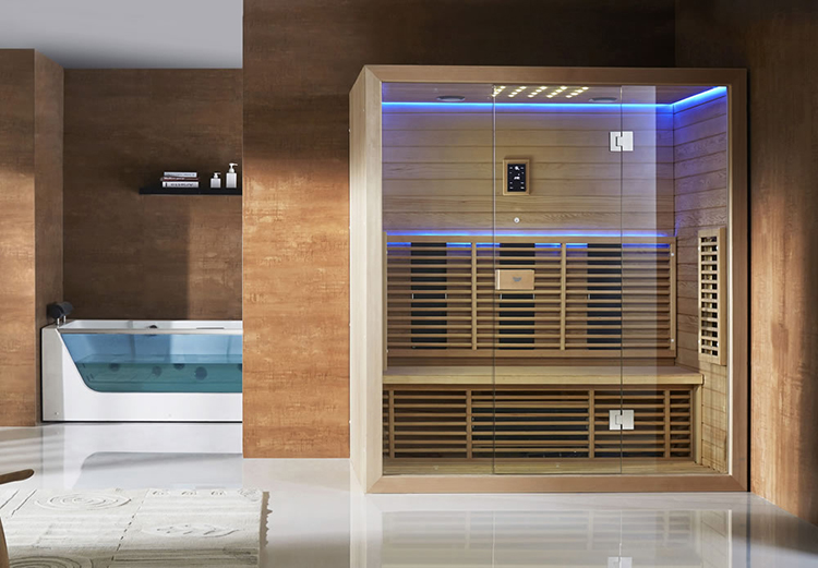 Luxury Home Sauna - compact and small square sauna cabinet in single frame with glass panel walls- LifetimeLuxury046
